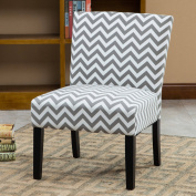 Roundhill Botticelli Grey Wave Print Fabric Armless Contemporary Accent Chair, Single