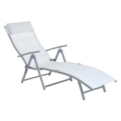 Outsunny Patio Reclining Chaise Lounge Chair with Cushion - Cream White
