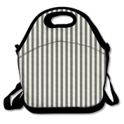 QIFAN Black And White Stripes Fashion Lunch Bag Travelling Picnic Storage Bags Backpack Handbag