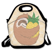 QIFAN Pineapple Sloth Waterproof Lunch Tote Bag Portable Picnic Lunch Box Lunch Pouch