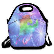 QIFAN Rainbow Galaxy Unicorn Waterproof Lunch Tote Bag Portable Picnic Lunch Box Lunch Pouch