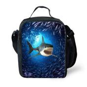 HUGSIDEA Kid's Feral Shark Design Food Bags Neoprene Lunch Bag for Camping