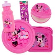 Disney Minnie Mouse Toddler Dinnerware Set - Plate, Bowl, Cup, Stickers