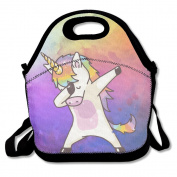 QIFAN Hip Hop Unicorn Rainbow Lunch Tote Bag Bags Awesome Lunch Handbag Lunchbox Box For School Work Outdoor