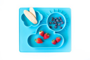 Silicone Baby Placemat + 3 Compartments Food Plate with Silicone Spoon Included - Portable Non Slip Mat - Meal Prep for Feeding Babies Toddlers and Kids - Suction Tables (Baby Blue) 14 x 30cm x 2.5cm