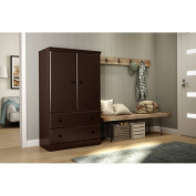 South Shore Morgan 2-Door Armoire with Drawers, Chocolate