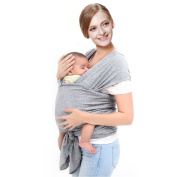 Grey Baby Sling Wrap Carrier - Breathable & Stretchy Cotton,Lightweight Secure Durable Baby Sling,Nursing Cover Great Baby Shower Gift