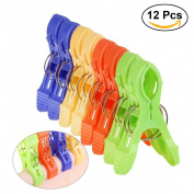 OUNONA 12 Pcs Towel Clips/Clothes Pins-Plastic Jumbo Size Towel Pool Holder,Keep Towels Clothes Quilt Blanket from Blowing Away or Sliding Down