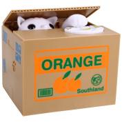 Qiyun Electronic Automatic Stealing Coin Cat Box Piggy Bank White Kitty Money Box Toy & Home Decor