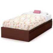 South Shore Little Treasures Twin Mates Bed with 3 Drawers, 100cm , Royal Cherry