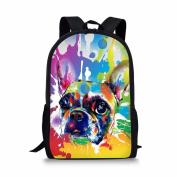 Showudesigns Colourful Painting Dog Backpack for School Children Double Zipper