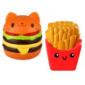 Biging 2 Pieces Kawaii Cat Hamburger Bread Squishy and Fries Squishy Slow Rising Toys