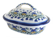 Polish Pottery Pansies Roaster with Lid