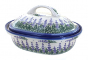Polish Pottery Lavender Fields Roaster with Lid