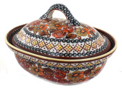 Polish Pottery Autumn Rose Small Oval Baker with Lid