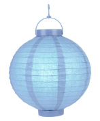 30cm Serenity Blue 16 LED Round Battery Operated Paper Lantern w/ Built-in Light-Up Switch