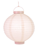 30cm Rose Quartz Pink 16 LED Round Battery Operated Paper Lantern w/ Built-in Light-Up Switch