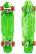 Ridge Skateboards Blaze Mini Cruiser Skateboard - Transparent Green Deck/red,