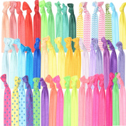 NO CREASE HAIR RIBBON TIES FOR GIRLS : Huge pack of colourful hair accessories for girls - ponytail holders, elastic hair bands in head-turning colours. Great Gift Idea For Girls Of All Ages.