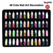 iMustech 48 Cols Nail Art Decoration, Nail Art Designs, 3D Nail Glitter, Nails Art, Nail Art Kit, Nail Art Supplies, Various Styles with Mini Bottles, for Art Projects, Face, Nail, DIY Crafts