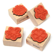 TOOGOO(R) 4pcs DIY Sweet Flowers Set Diary Scrapbook Floral Decoration Wooden Rubber Stamp