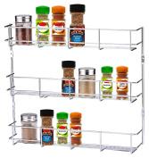 Buckingham 3 Tier Door Mounted Spice Rack Jar Holder Kitchen Cupboard Wall Storage, Chrome