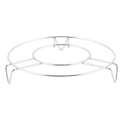 DealMux Stainless Steel Household Kitchen Round Shaped Food Meat Steaming Rack Stand Silver Tone