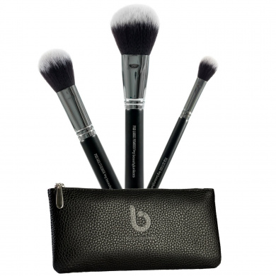 Beauty Junkees 3 PC Pro Powder Makeup Brush Set with Case for Finishing, Blending, Setting, Synthetic, Vegan, Cruelty Free