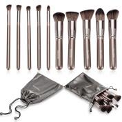 Realife 10Pcs Makeup Brushes Set Kabuki Foundation Kits with Cases Brown