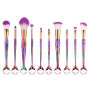 UNIMEIX Makeup Brushes Set 10pcs Cosmestic Brush Set Powder Brush Foundation Brush Contour Brush Eye Makeup Brush