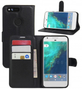 Google Pixel Case, HualuBro [Kickstand] [All Around Protection] Premium PU Leather Wallet Flip Phone Protective Case Cover with Card Slots for Google Pixel 13cm 2016 Smartphone