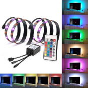 Kohree 2 RGB Multi Colour Led Light Strip Bias Lighting HDTV USB Powered TV Backlighting Home Theatre Accent lighting Kit