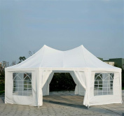 Outsunny 6.7m x 4.9m Large Octagon 8-Wall Party Tent - White