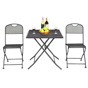Costway 3 PCS Outdoor Patio Bistro Furniture Set Steel Mesh Frame Bistro Square Table