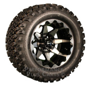 HD6 30cm Black / Machined Golf Cart Wheels with 60cm A/T Lifted Tyre Package