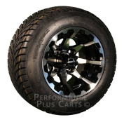 HD6 25cm Black / Machined Golf Cart Wheels with Low Profile Street Tyre Package