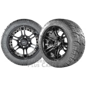 Mirage 30cm Black w/ Coloured Inserts Golf Cart Wheels w/ Low Profile Street Tyres