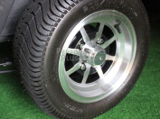 25cm Machined and Black 8 Spoke Golf Cart Wheels with Low Profile DOT Tyres -Set