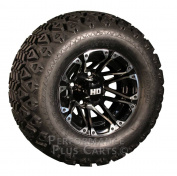 HD3 25cm Black & Machined Golf Cart Wheels with 50cm A/T Lifted Tyre Package
