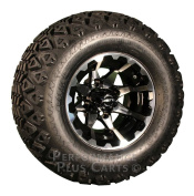 HD6 25cm Black and Machined Golf Cart Wheels with 50cm A/T Lifted Tyre Package