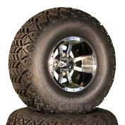 25cm Storm Trooper Black / Machined SS Golf Cart Wheels with 60cm A/T Lifted Tyre
