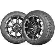 Element 12x7 Black & Machined Golf Cart Wheels with Low Profile Street Tyre Set