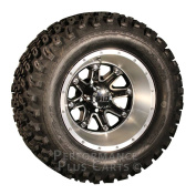 HD4 30cm Black and Machined Golf Cart Wheels with 60cm A/T Lifted Tyre Package