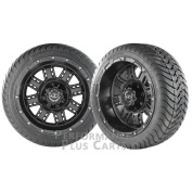 Transformer 36cm Matte Black Golf Cart Wheels with Low Profile Street Tyres - X 4