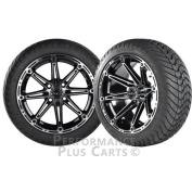 Element 36cm Machined Black/Silver Golf Cart Wheels with Cobra Street Tyres