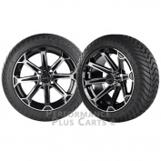 Vortex 36cm Black and Machined Golf Cart Wheels w/ Low Profile Street Tyres - X4