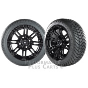 Illusion 36cm Black with Coloured Inserts Golf Cart Wheels with Low Profile Street