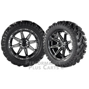 Element 36cm Black and Machined Golf Cart Wheels with 60cm Mud Tyres - LIFTED