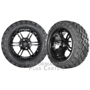 Mirage 36cm Black with Coloured Inserts Golf Cart Wheels with 60cm A/T Tyres LIFTED