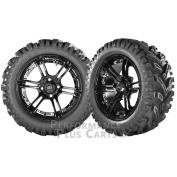 Mirage 36cm Black with Coloured Inserts Golf Cart Wheels with 60cm Mud Tyres X 4